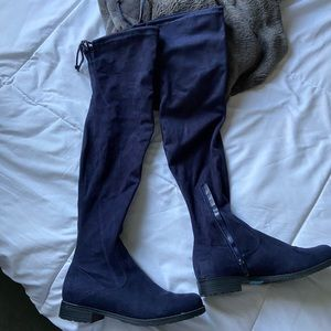 Shoes - Navy blue knee high boots